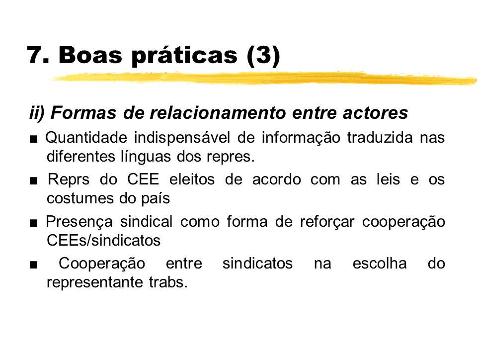 7. Boas práticas (3) ii) Formas de relacionamento entre actores Quantidade indispensável de informação traduzida nas diferentes línguas dos repres. Re