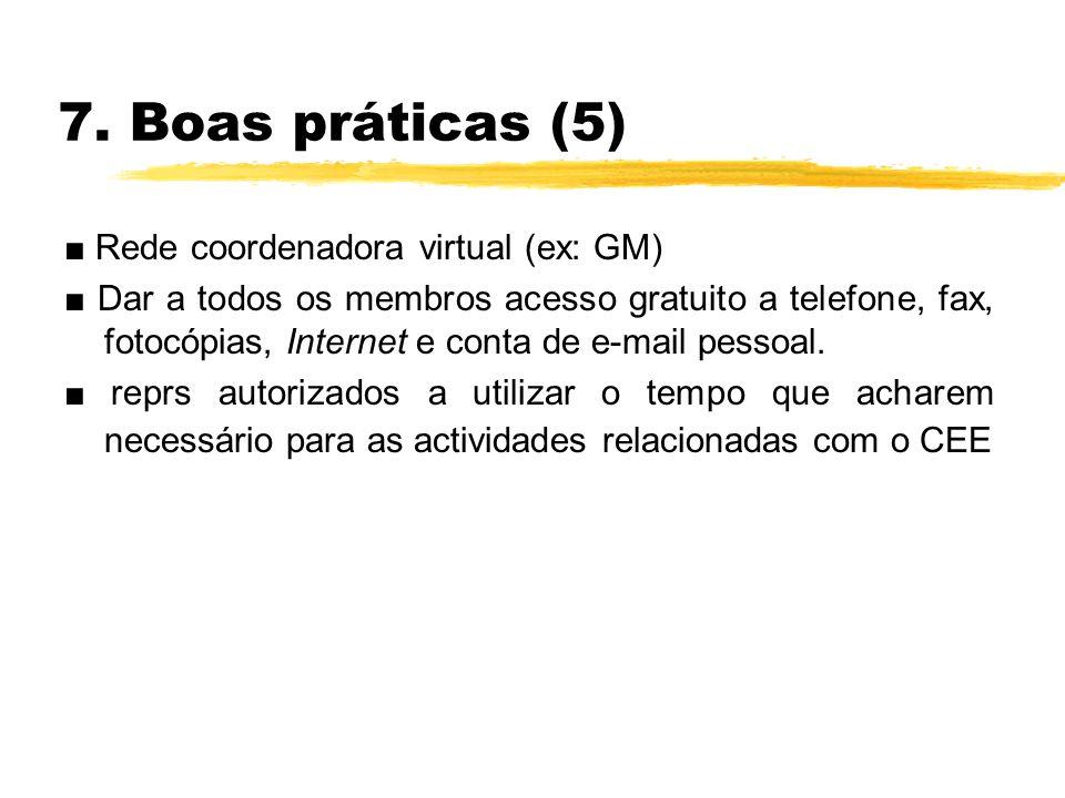 7. Boas práticas (5) Rede coordenadora virtual (ex: GM) Dar a todos os membros acesso gratuito a telefone, fax, fotocópias, Internet e conta de e-mail