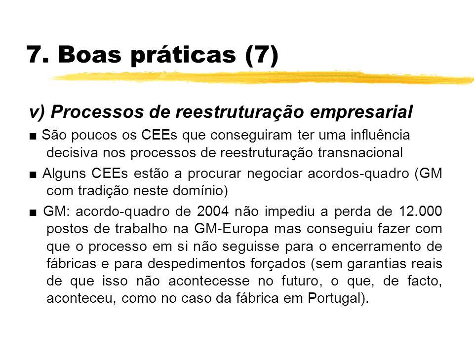 7. Boas práticas (7) v) Processos de reestruturação empresarial São poucos os CEEs que conseguiram ter uma influência decisiva nos processos de reestr