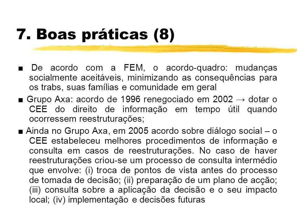 7. Boas práticas (8) De acordo com a FEM, o acordo-quadro: mudanças socialmente aceitáveis, minimizando as consequências para os trabs, suas famílias