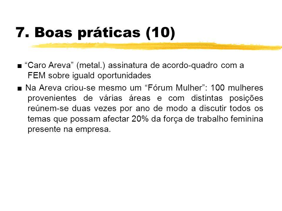 7. Boas práticas (10) Caro Areva (metal.) assinatura de acordo-quadro com a FEM sobre iguald oportunidades Na Areva criou-se mesmo um Fórum Mulher: 10