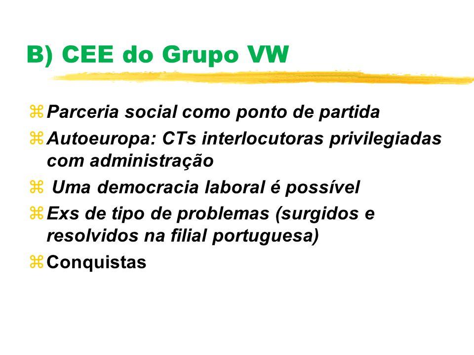B) CEE do Grupo VW zParceria social como ponto de partida zAutoeuropa: CTs interlocutoras privilegiadas com administração z Uma democracia laboral é p