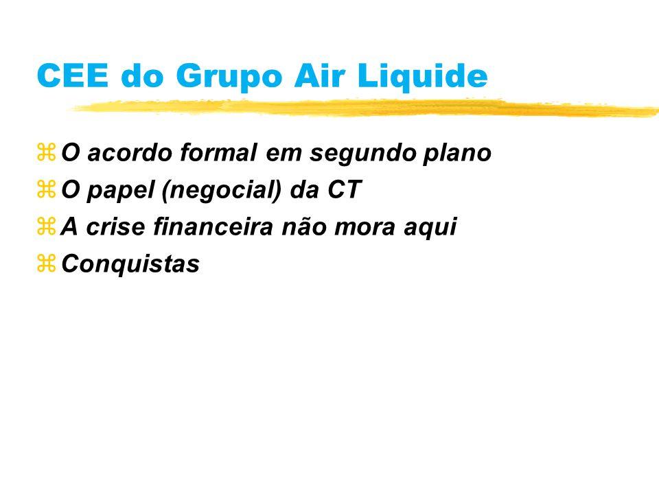 CEE do Grupo Air Liquide zO acordo formal em segundo plano zO papel (negocial) da CT zA crise financeira não mora aqui zConquistas