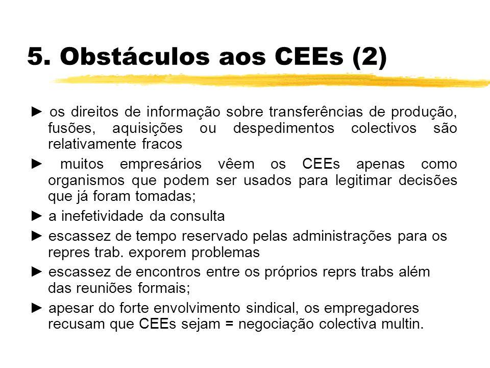 5. Obstáculos aos CEEs (2) os direitos de informação sobre transferências de produção, fusões, aquisições ou despedimentos colectivos são relativament