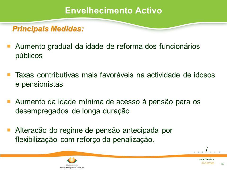 07/03/2008 José Barrias 16 Taxas contributivas mais favoráveis na actividade de idosos e pensionistas Principais Medidas: Aumento da idade mínima de a