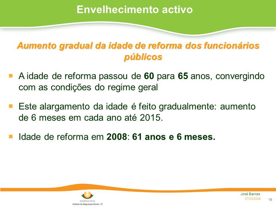 07/03/2008 José Barrias 18 Envelhecimento activo Aumento gradual da idade de reforma dos funcionários públicos A idade de reforma passou de 60 para 65