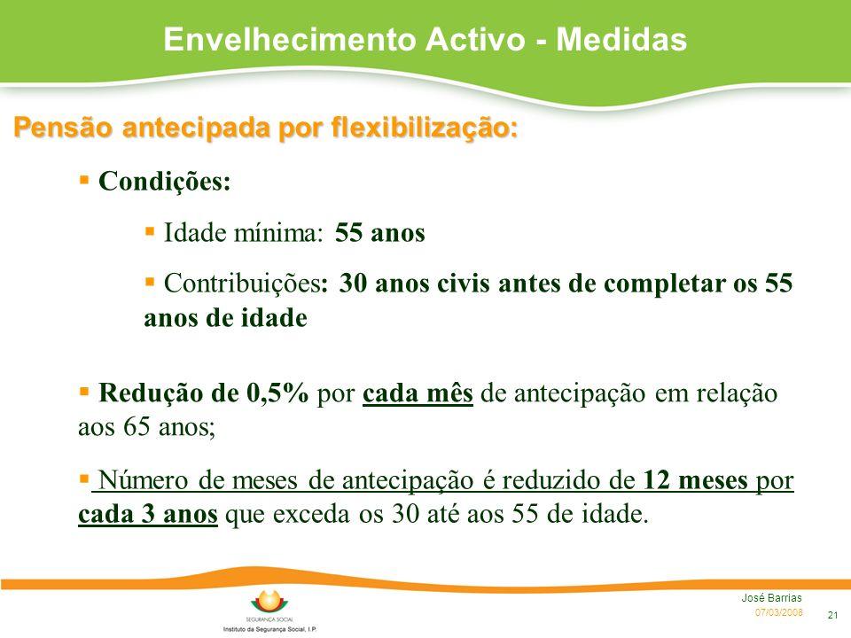 07/03/2008 José Barrias 21 Pensão antecipada por flexibilização: Redução de 0,5% por cada mês de antecipação em relação aos 65 anos; Número de meses d