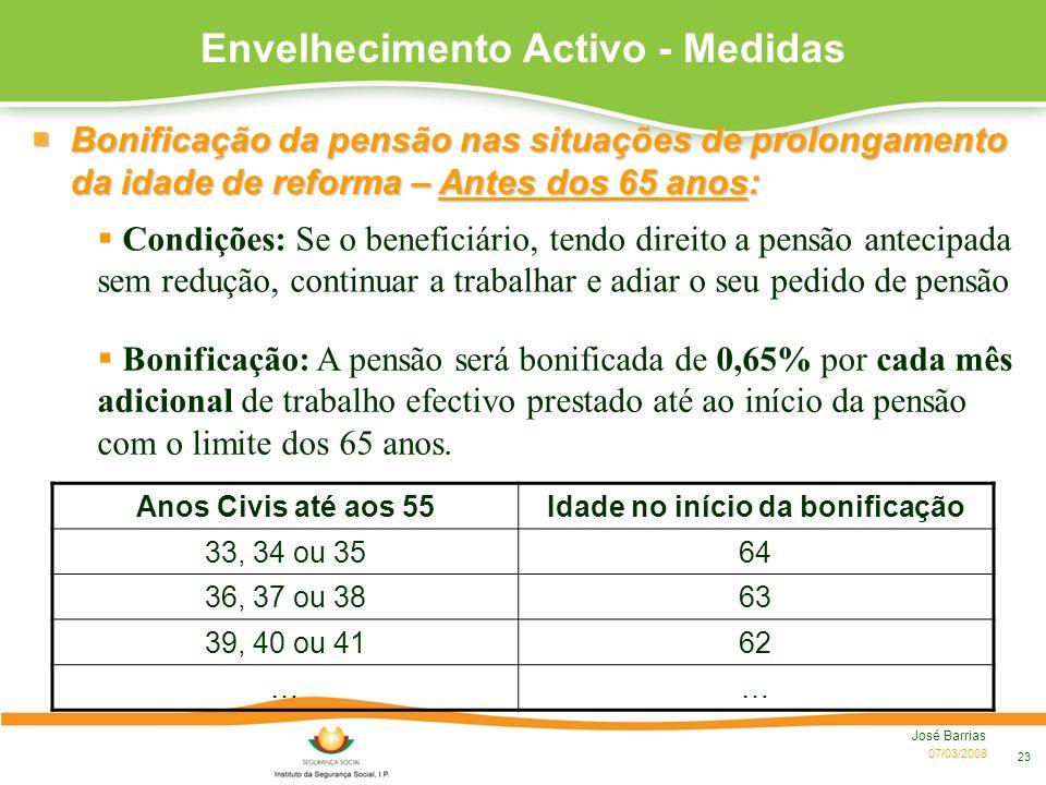 07/03/2008 José Barrias 23 Envelhecimento Activo - Medidas Condições: Se o beneficiário, tendo direito a pensão antecipada sem redução, continuar a tr