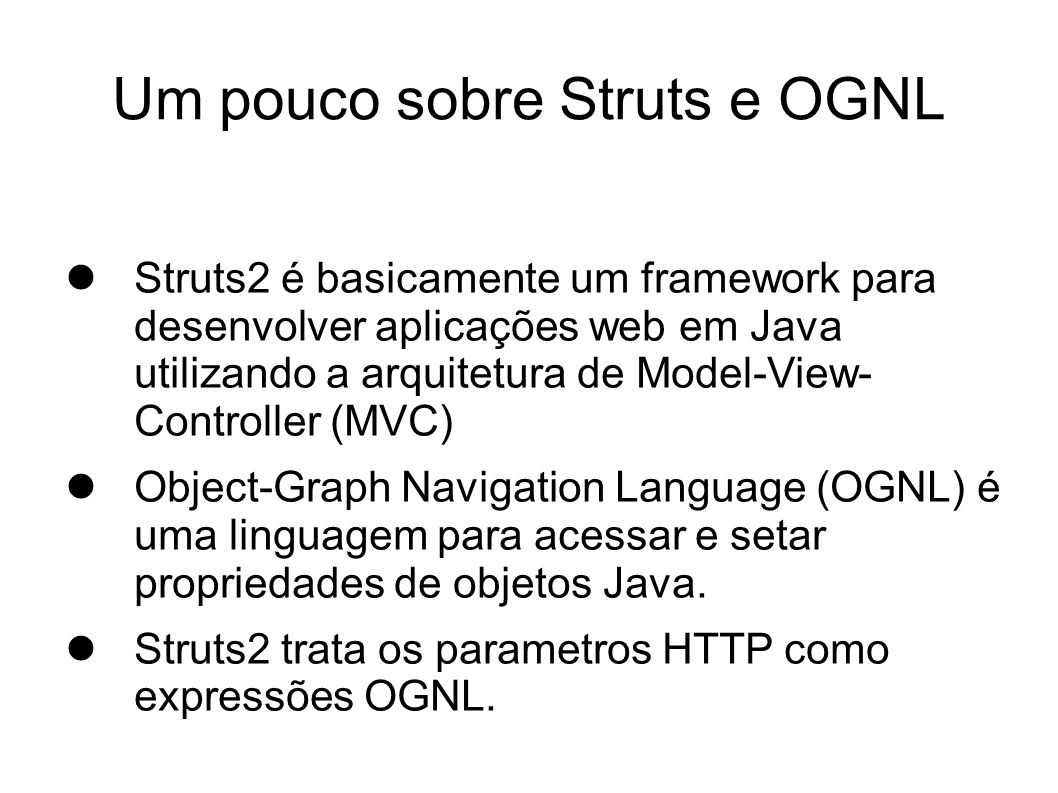 CVE-2010-1870 – Struts2/XWork Remote Code Execution The OGNL extensive expression evaluation capability in XWork in Struts 2.0.0 through 2.1.8.1, as used in Atlassian Fisheye, Crucible, and possibly other products, uses a permissive whitelist, which allows remote attackers to modify server-side context objects and bypass the # protection mechanism in ParameterInterceptors via the (1) #context, (2) #_memberAccess, (3) #root, (4) #this, (5) #_typeResolver, (6) #_classResolver, (7) #_traceEvaluations, (8) #_lastEvaluation, (9) #_keepLastEvaluation, and possibly other OGNL context variables, a different vulnerability than CVE- 2008-6504.