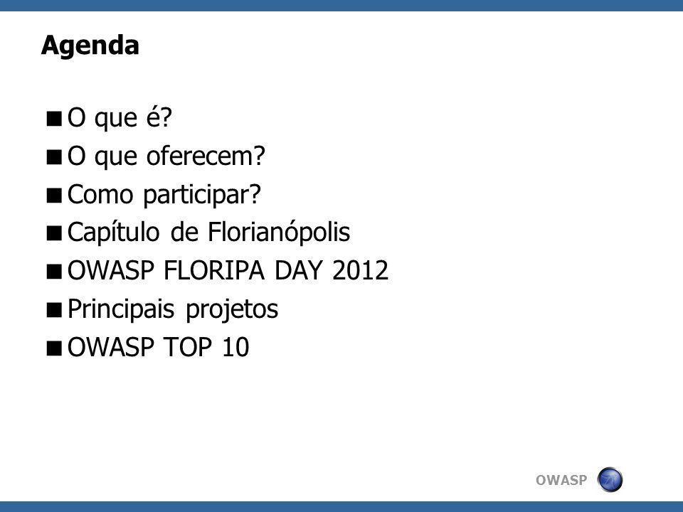 OWASP Agenda O que é? O que oferecem? Como participar? Capítulo de Florianópolis OWASP FLORIPA DAY 2012 Principais projetos OWASP TOP 10