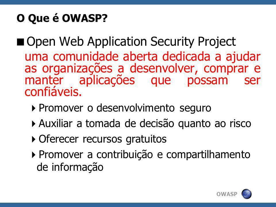 OWASP O Que é OWASP? Open Web Application Security Project uma comunidade aberta dedicada a ajudar as organizações a desenvolver, comprar e manter apl