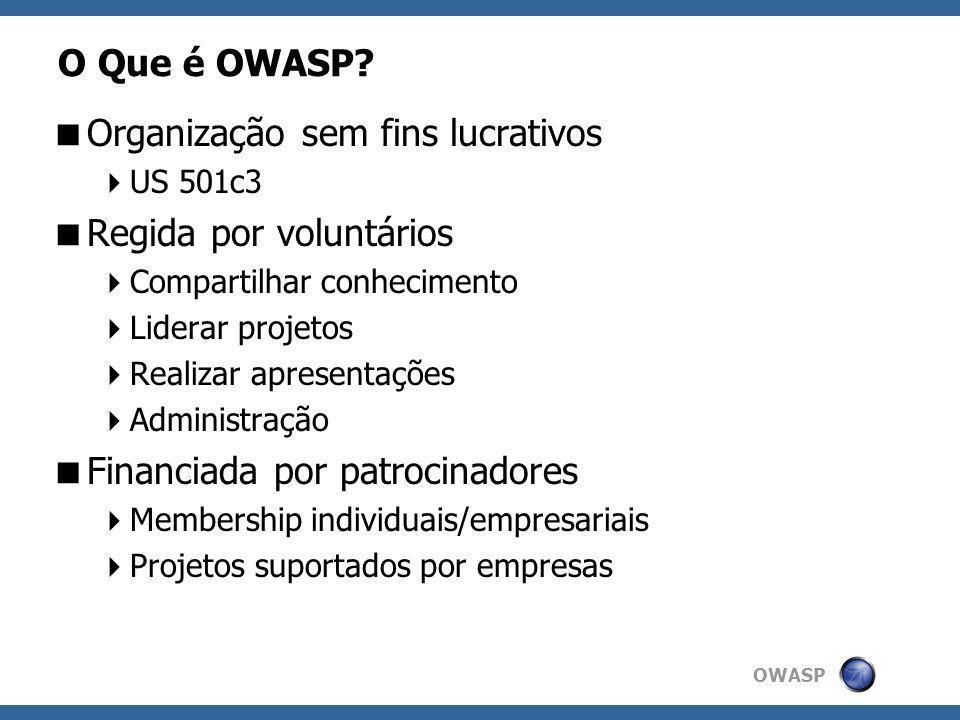 OWASP O Que é OWASP? Organização sem fins lucrativos US 501c3 Regida por voluntários Compartilhar conhecimento Liderar projetos Realizar apresentações