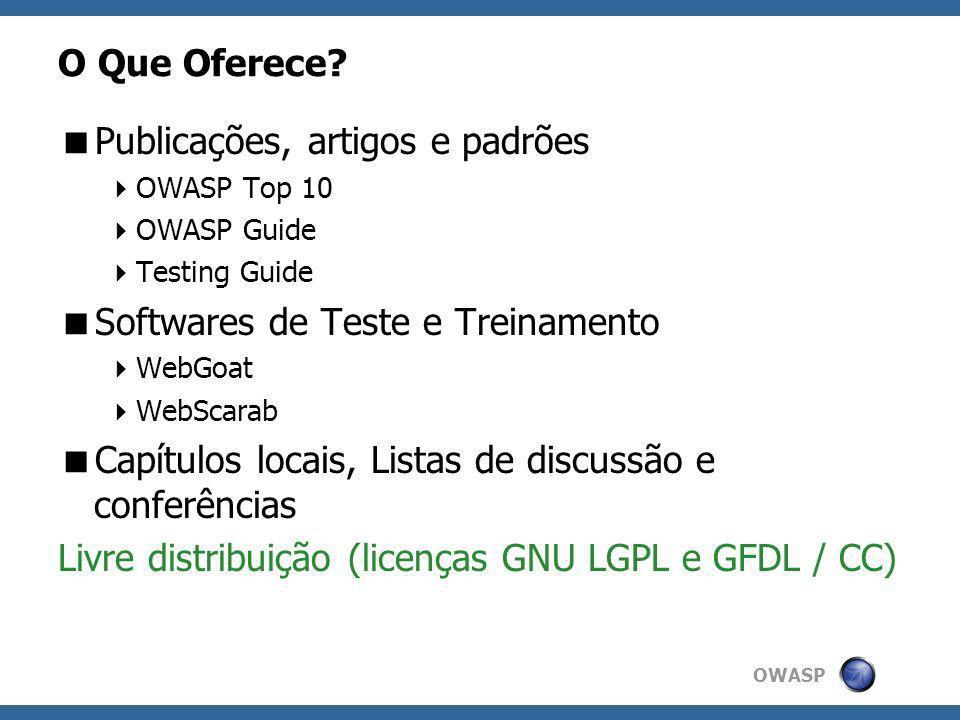 OWASP O Que Oferece? Publicações, artigos e padrões OWASP Top 10 OWASP Guide Testing Guide Softwares de Teste e Treinamento WebGoat WebScarab Capítulo