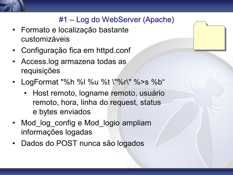 #1 – Log do WebServer (Apache) Formato e localização bastante customizáveis Configuração fica em httpd.conf Access.log armazena todas as requisições L