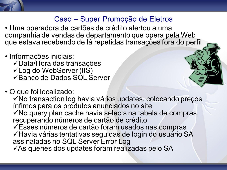 Caso – Super Promoção de Eletros Uma operadora de cartões de crédito alertou a uma companhia de vendas de departamento que opera pela Web que estava r