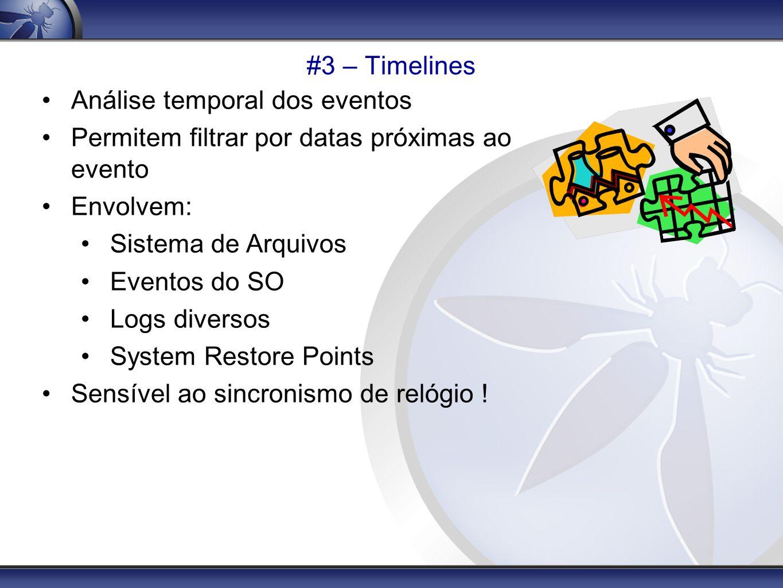 #3 – Timelines Análise temporal dos eventos Permitem filtrar por datas próximas ao evento Envolvem: Sistema de Arquivos Eventos do SO Logs diversos Sy