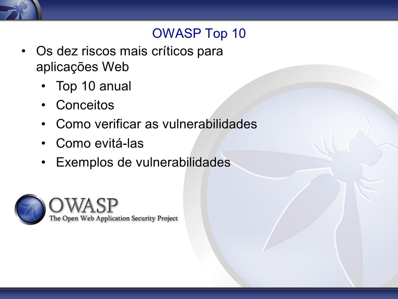 OWASP Top 10 Os dez riscos mais críticos para aplicações Web Top 10 anual Conceitos Como verificar as vulnerabilidades Como evitá-las Exemplos de vuln