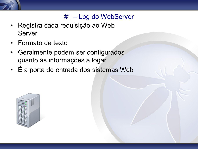 #1 – Log do WebServer (IIS) Formato W3C Extended Em geral, ficam em LogFiles\W3SVCx Por default, logam: Data/Hora, Client IP, Server Info, HTTP Method, URL e Parâmetros, Http Status Code e User Agent Pode ser habilitado: Bytes transferidos, Host Header, Cookies, Referrer Dados do POST nunca são logados