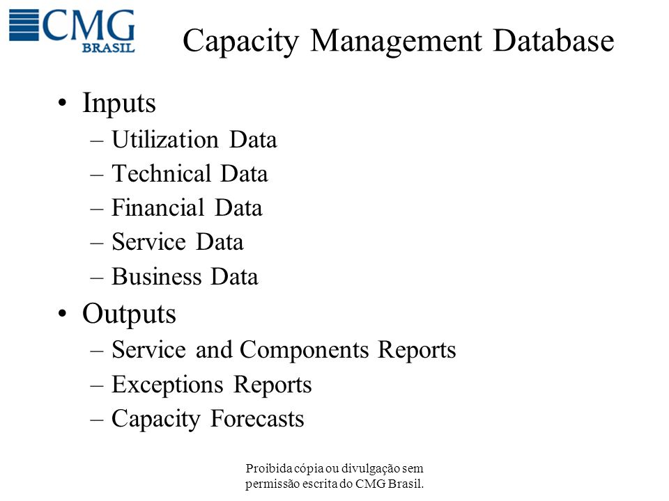 Capacity Management Database Inputs –Utilization Data –Technical Data –Financial Data –Service Data –Business Data Outputs –Service and Components Rep