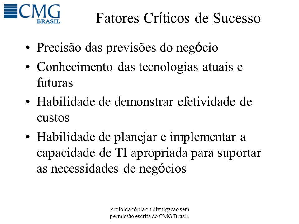 Proibida cópia ou divulgação sem permissão escrita do CMG Brasil. Fatores Cr í ticos de Sucesso Precisão das previsões do neg ó cio Conhecimento das t