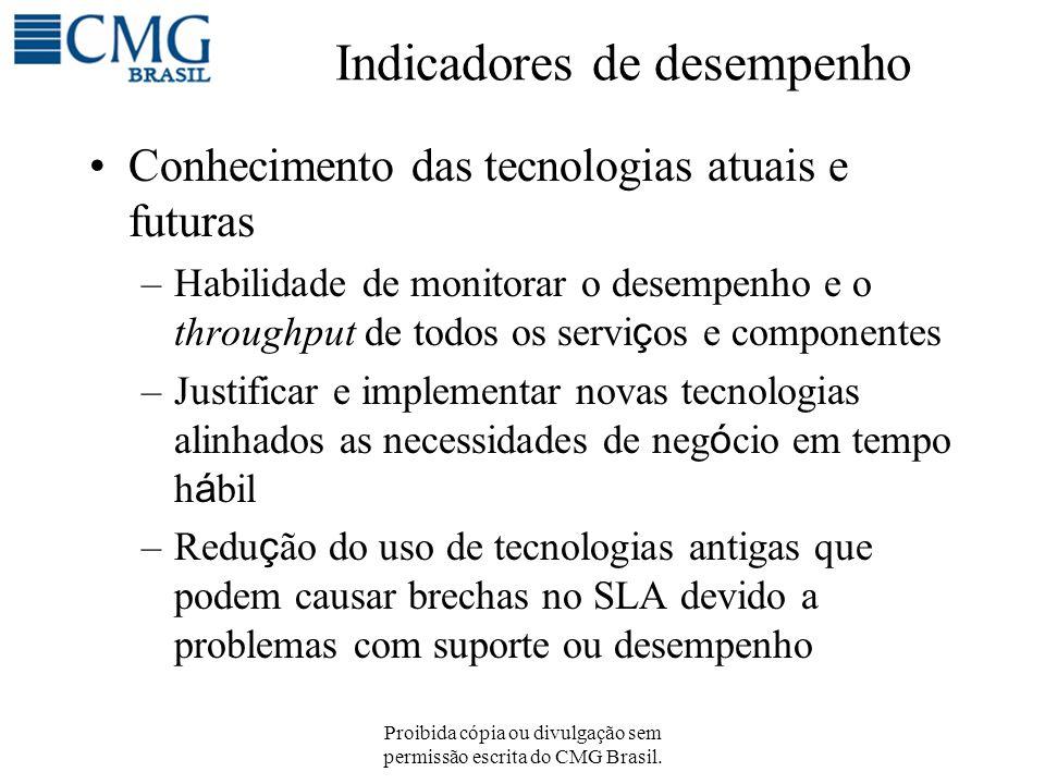 Proibida cópia ou divulgação sem permissão escrita do CMG Brasil. Indicadores de desempenho Conhecimento das tecnologias atuais e futuras –Habilidade