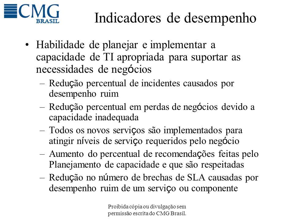 Proibida cópia ou divulgação sem permissão escrita do CMG Brasil. Indicadores de desempenho Habilidade de planejar e implementar a capacidade de TI ap