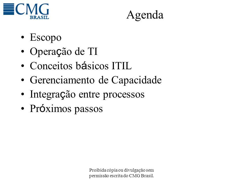 Proibida cópia ou divulgação sem permissão escrita do CMG Brasil. Agenda Escopo Opera ç ão de TI Conceitos b á sicos ITIL Gerenciamento de Capacidade