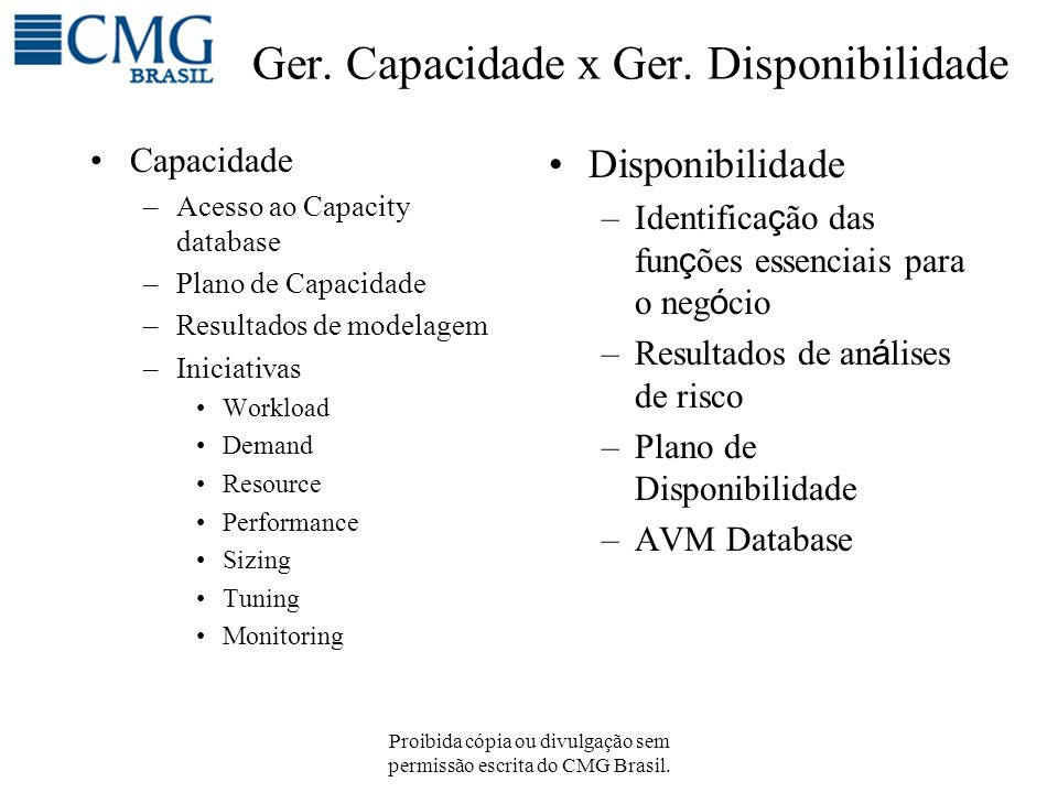 Proibida cópia ou divulgação sem permissão escrita do CMG Brasil. Ger. Capacidade x Ger. Disponibilidade Capacidade –Acesso ao Capacity database –Plan