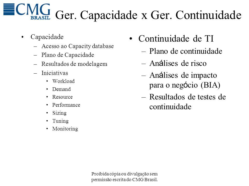 Proibida cópia ou divulgação sem permissão escrita do CMG Brasil. Ger. Capacidade x Ger. Continuidade Capacidade –Acesso ao Capacity database –Plano d