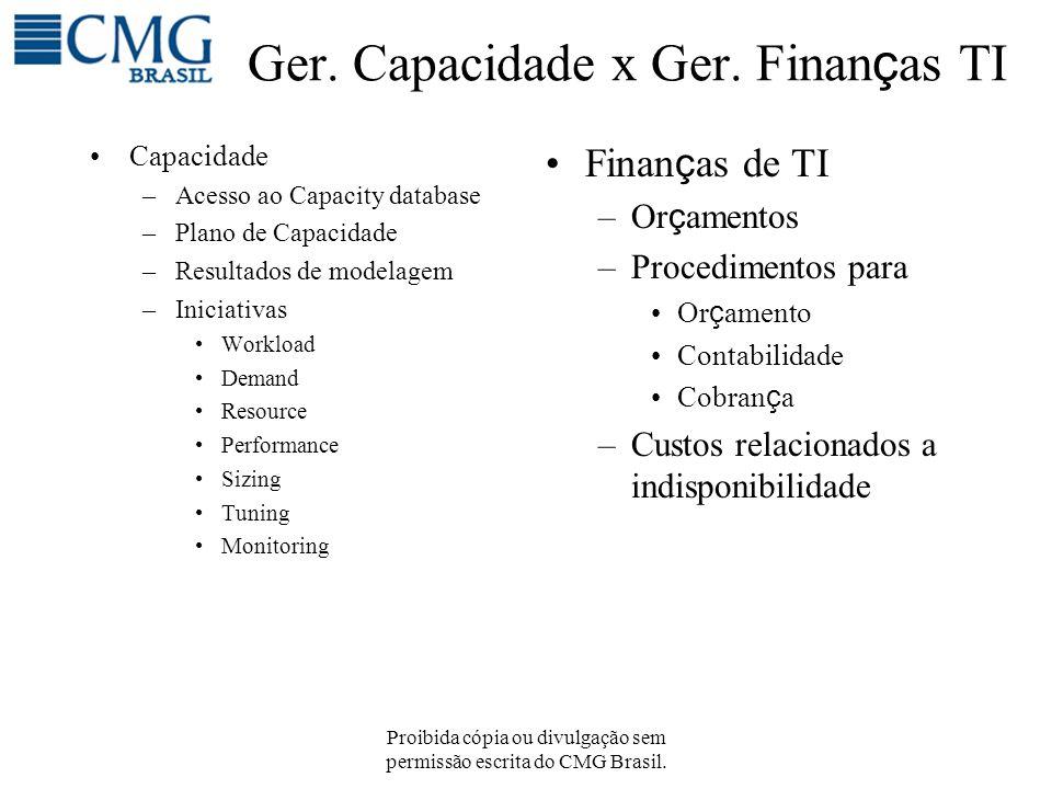 Proibida cópia ou divulgação sem permissão escrita do CMG Brasil. Ger. Capacidade x Ger. Finan ç as TI Capacidade –Acesso ao Capacity database –Plano