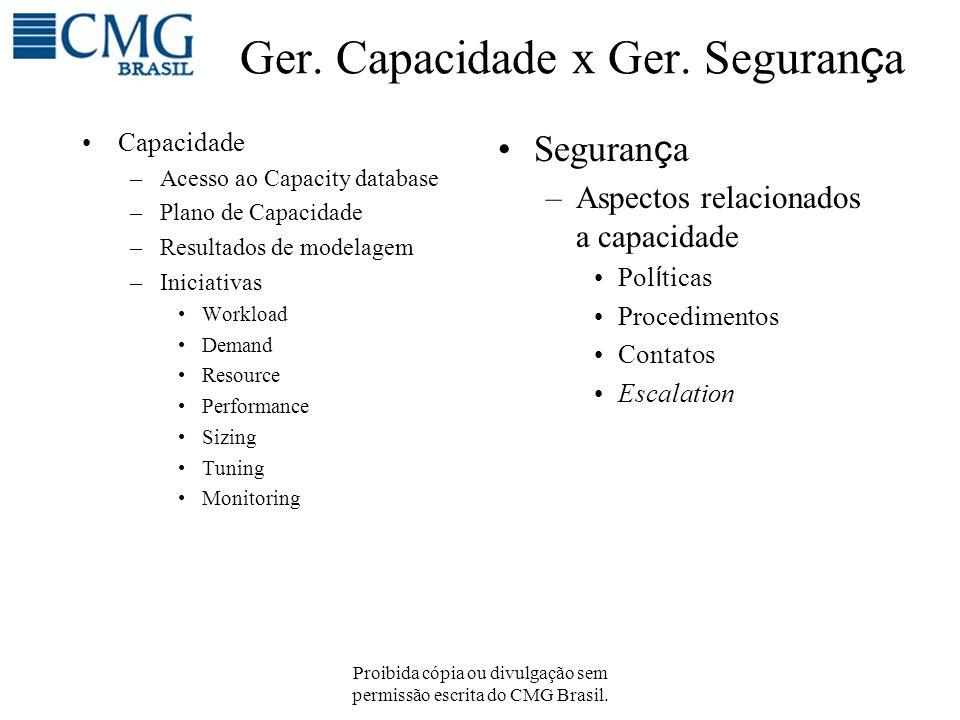 Proibida cópia ou divulgação sem permissão escrita do CMG Brasil. Ger. Capacidade x Ger. Seguran ç a Capacidade –Acesso ao Capacity database –Plano de