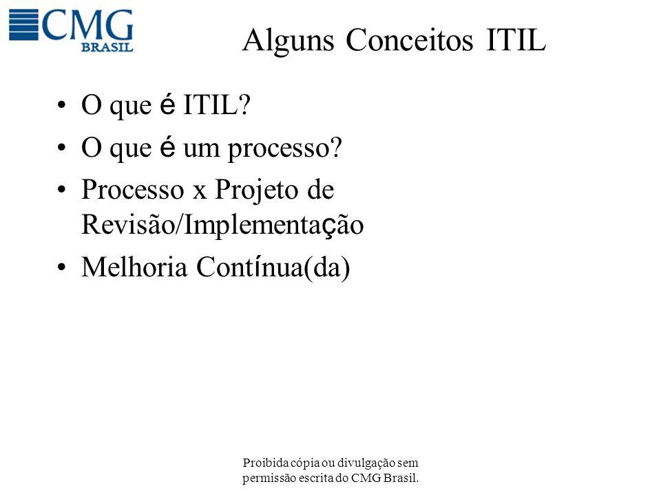 Proibida cópia ou divulgação sem permissão escrita do CMG Brasil. Alguns Conceitos ITIL O que é ITIL? O que é um processo? Processo x Projeto de Revis