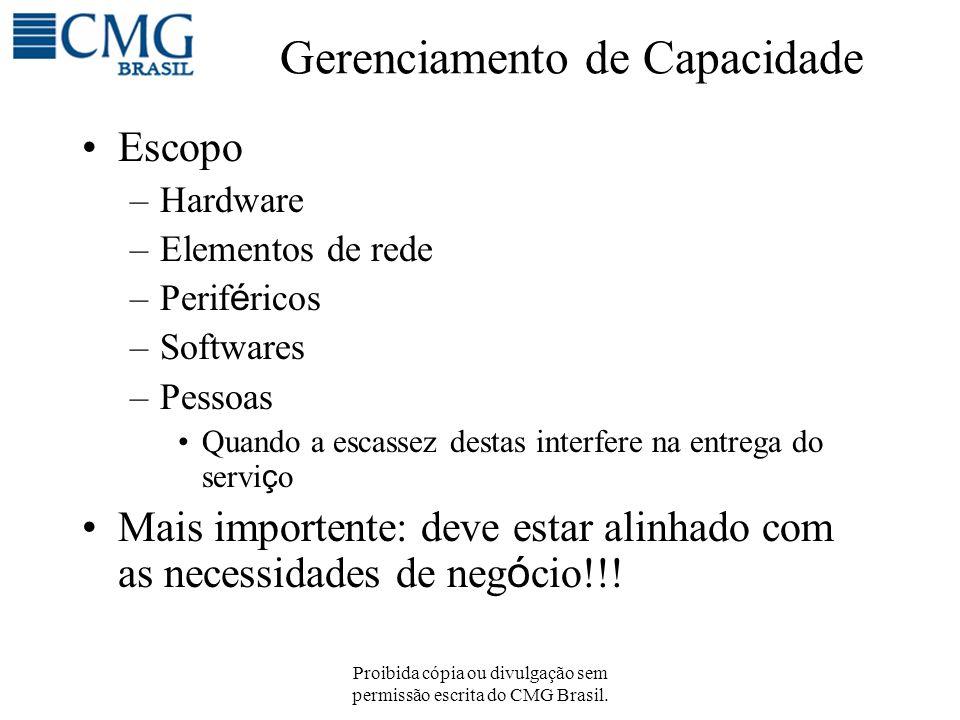 Proibida cópia ou divulgação sem permissão escrita do CMG Brasil. Gerenciamento de Capacidade Escopo –Hardware –Elementos de rede –Perif é ricos –Soft