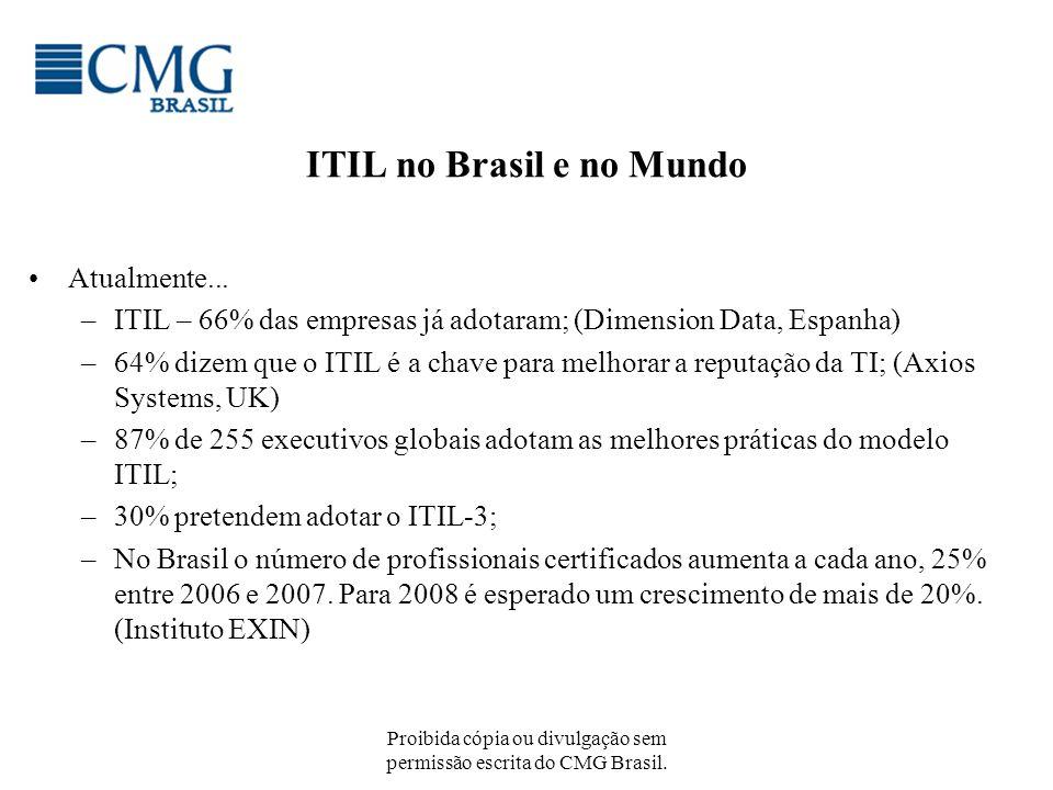 Proibida cópia ou divulgação sem permissão escrita do CMG Brasil. ITIL no Brasil e no Mundo Atualmente... –ITIL – 66% das empresas já adotaram; (Dimen
