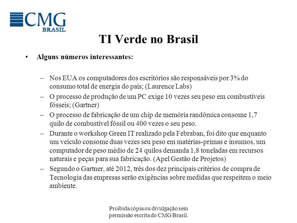Proibida cópia ou divulgação sem permissão escrita do CMG Brasil. TI Verde no Brasil Alguns números interessantes: –Nos EUA os computadores dos escrit