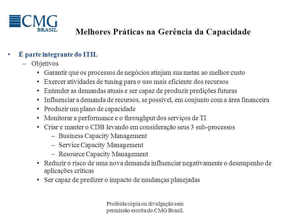 Proibida cópia ou divulgação sem permissão escrita do CMG Brasil. Melhores Práticas na Gerência da Capacidade É parte integrante do ITIL –Objetivos Ga
