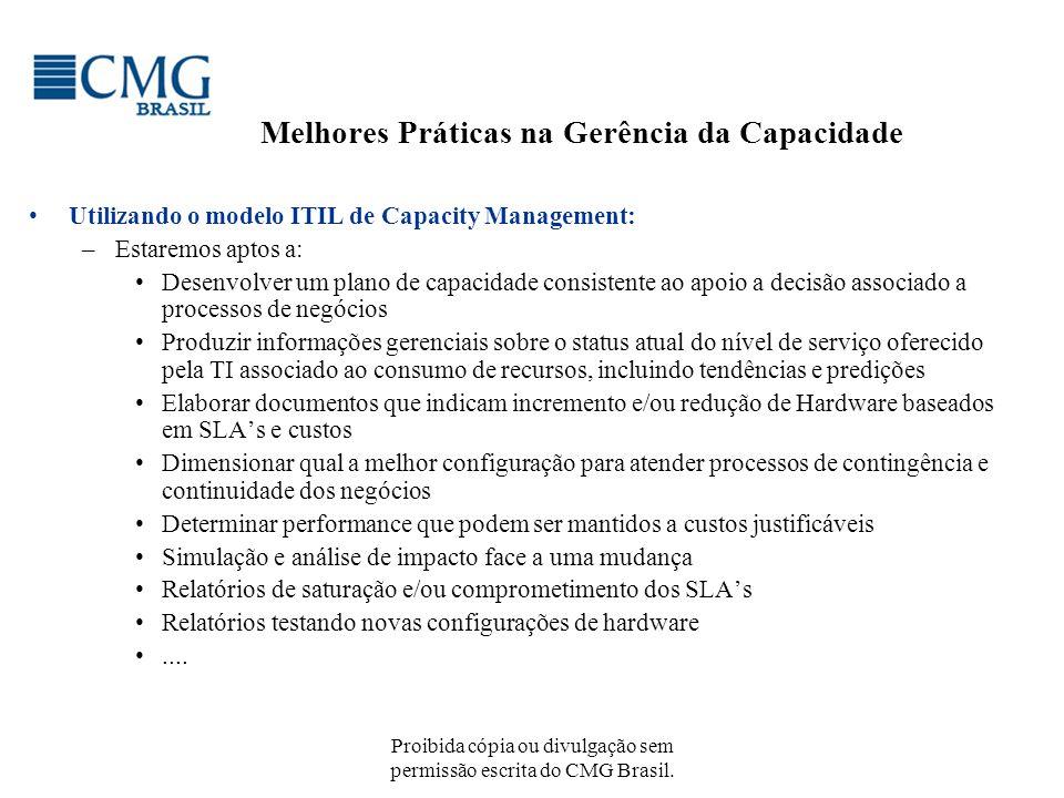 Proibida cópia ou divulgação sem permissão escrita do CMG Brasil. Melhores Práticas na Gerência da Capacidade Utilizando o modelo ITIL de Capacity Man
