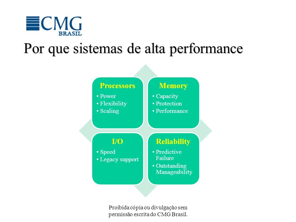 Proibida cópia ou divulgação sem permissão escrita do CMG Brasil. Por que sistemas de alta performance Processors Power Flexibility Scaling Memory Cap