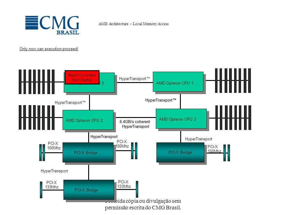 Proibida cópia ou divulgação sem permissão escrita do CMG Brasil. AMD Architecture – Local Memory Access HyperTransport PCI-X 100Mhz PCI-X 100Mhz Hype