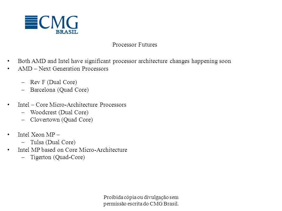 Proibida cópia ou divulgação sem permissão escrita do CMG Brasil. Processor Futures Both AMD and Intel have significant processor architecture changes