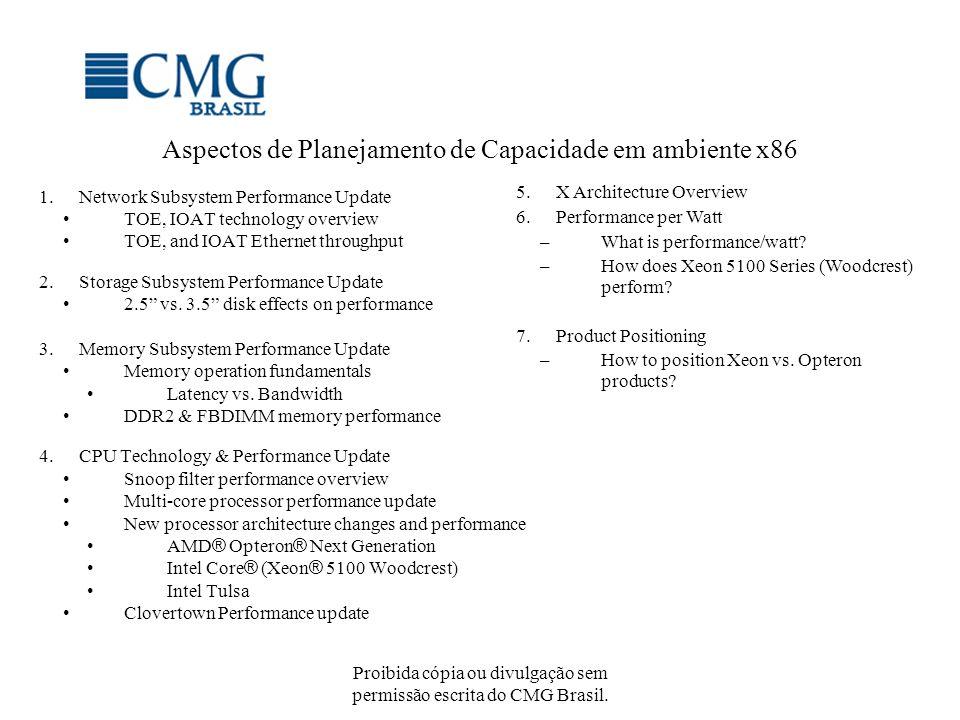Proibida cópia ou divulgação sem permissão escrita do CMG Brasil. Aspectos de Planejamento de Capacidade em ambiente x86 1.Network Subsystem Performan