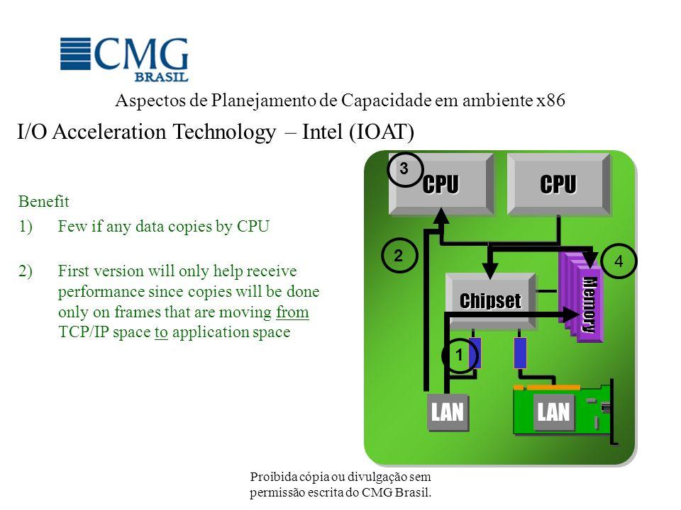 Proibida cópia ou divulgação sem permissão escrita do CMG Brasil. Aspectos de Planejamento de Capacidade em ambiente x86 I/O Acceleration Technology –