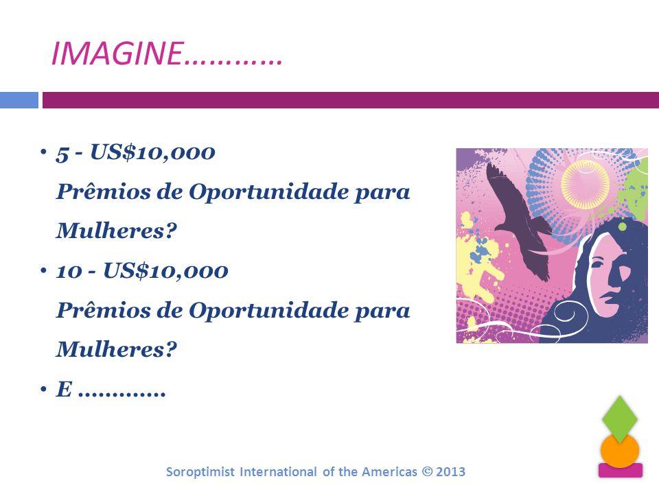 IMAGINE………… 5 - US$10,000 Prêmios de Oportunidade para Mulheres? 10 - US$10,000 Prêmios de Oportunidade para Mulheres? E …………. Soroptimist Internation