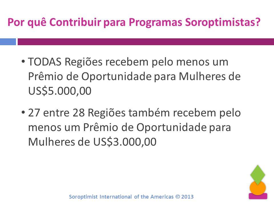 Por quê Contribuir para Programas Soroptimistas? TODAS Regiões recebem pelo menos um Prêmio de Oportunidade para Mulheres de US$5.000,00 27 entre 28 R