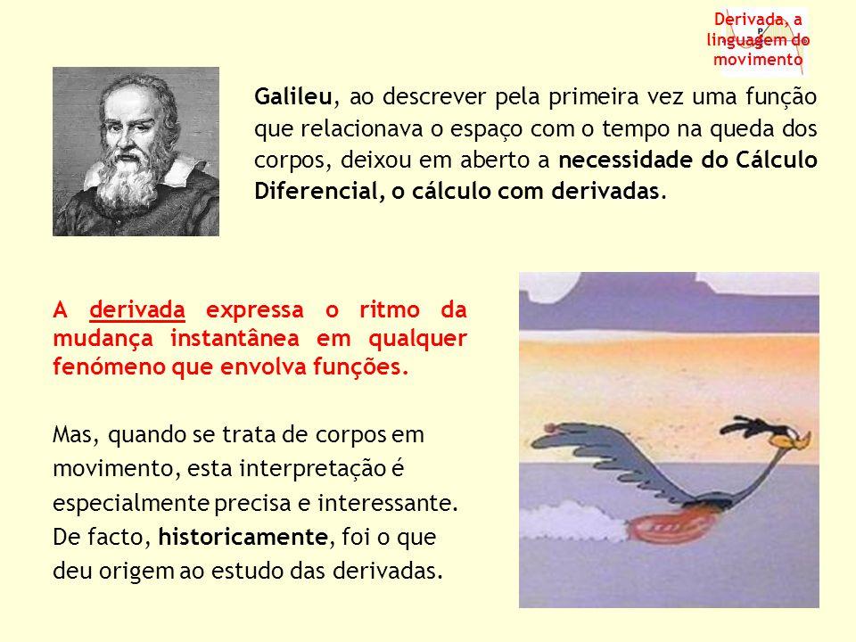 A derivada expressa o ritmo da mudança instantânea em qualquer fenómeno que envolva funções. Mas, quando se trata de corpos em movimento, esta interpr
