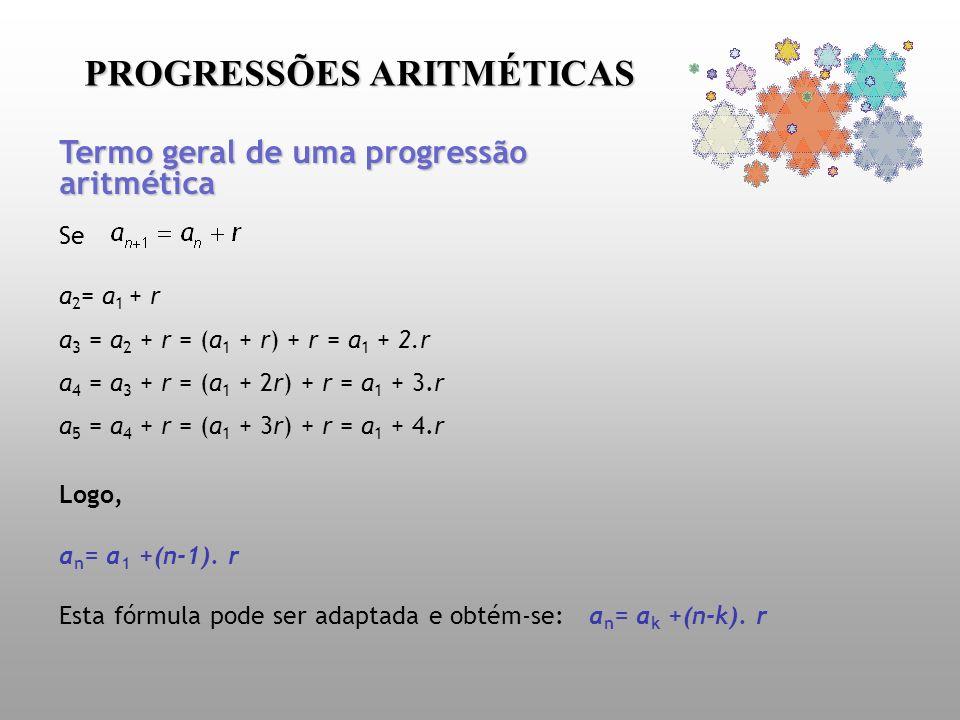 Se a 2 = a 1 + r a 3 = a 2 + r = (a 1 + r) + r = a 1 + 2.r a 4 = a 3 + r = (a 1 + 2r) + r = a 1 + 3.r a 5 = a 4 + r = (a 1 + 3r) + r = a 1 + 4.r Logo,