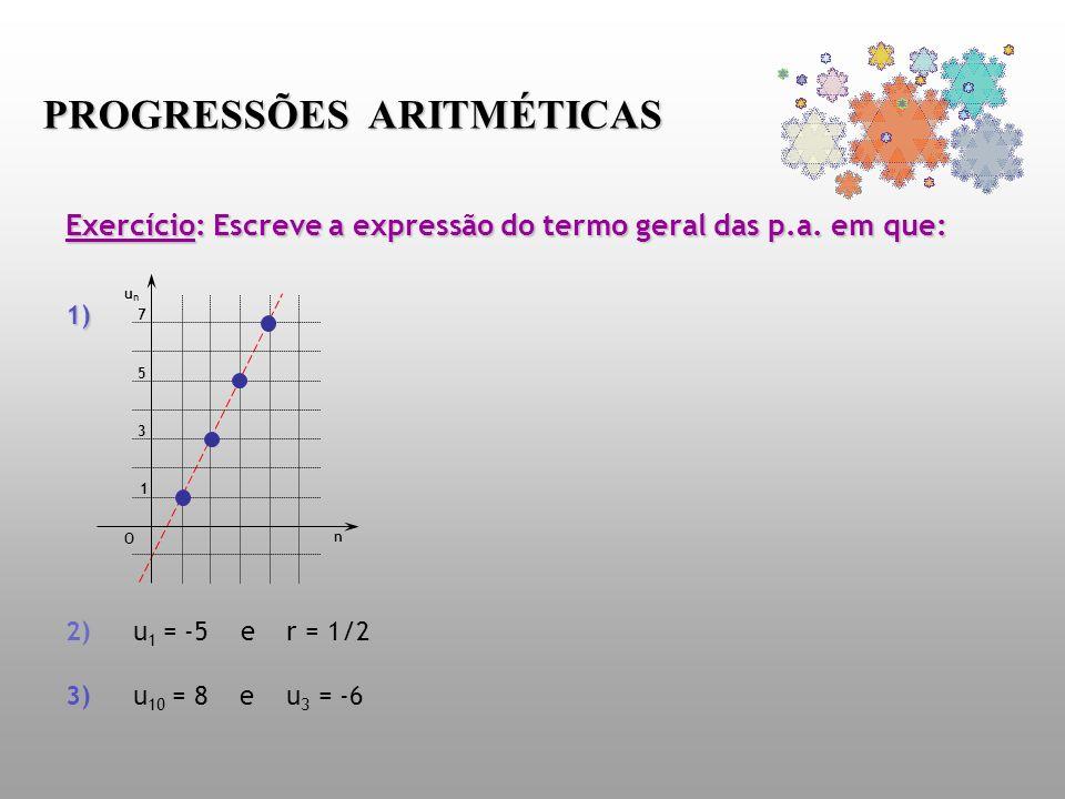 Exercício: Escreve a expressão do termo geral das p.a. em que: 1) Exercício: Escreve a expressão do termo geral das p.a. em que: 1) 2) u 1 = -5 e r =