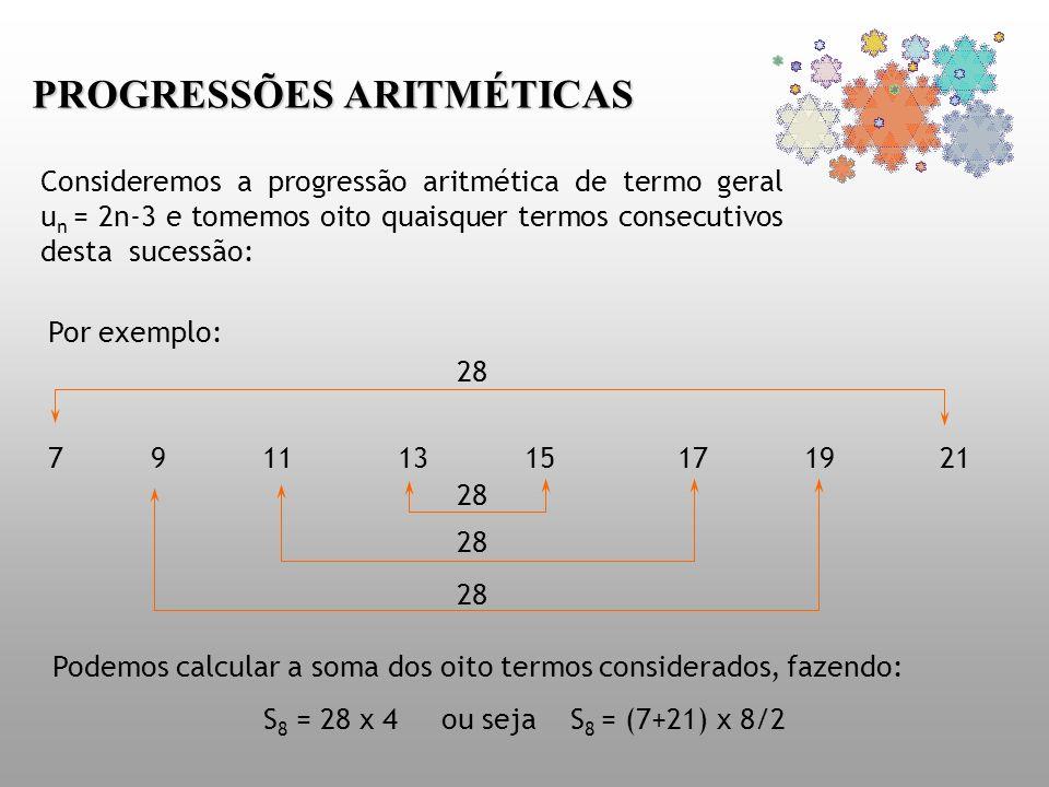 PROGRESSÕES ARITMÉTICAS Consideremos a progressão aritmética de termo geral u n = 2n-3 e tomemos oito quaisquer termos consecutivos desta sucessão: Po