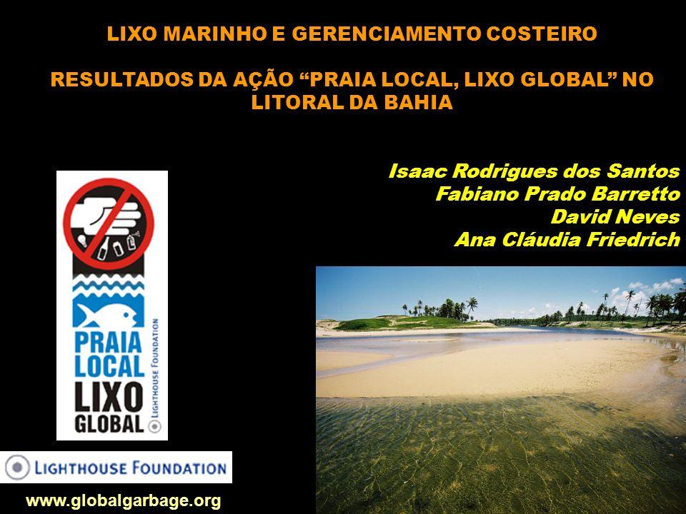 LIXO MARINHO E GERENCIAMENTO COSTEIRO RESULTADOS DA AÇÃO PRAIA LOCAL, LIXO GLOBAL NO LITORAL DA BAHIA Isaac Rodrigues dos Santos Fabiano Prado Barrett