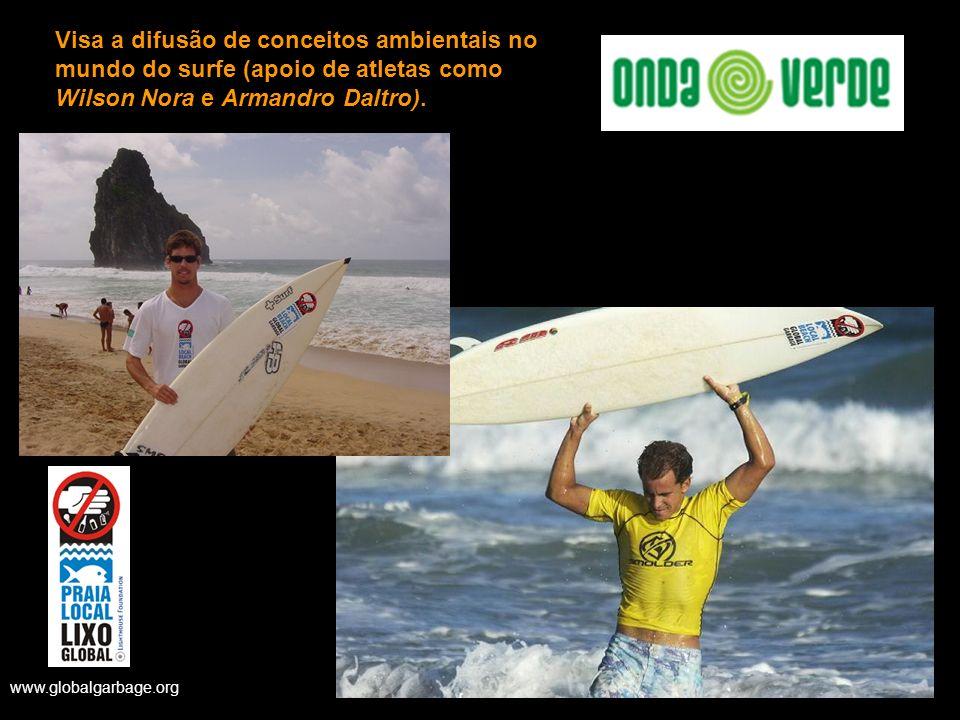 Visa a difusão de conceitos ambientais no mundo do surfe (apoio de atletas como Wilson Nora e Armandro Daltro). www.globalgarbage.org